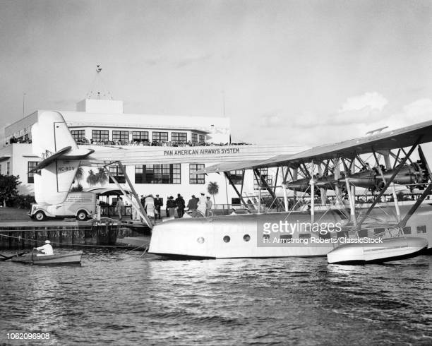 1930s PAN AMERICAN AIRWAYS SYSTEM SIKORSKY S40 FLYING BOAT NC80V AMERICAN CLIPPER AT SEA PLANE AIRPORT MIAMI FLORIDA USA