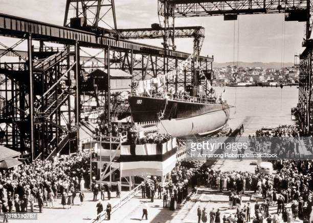 1930s April 1 1939 Submarine USS Swordfish Launching At Mare Island Navy Yard Vallejo Ca USA In 1945 Sunk All Hands Lost At Sea.