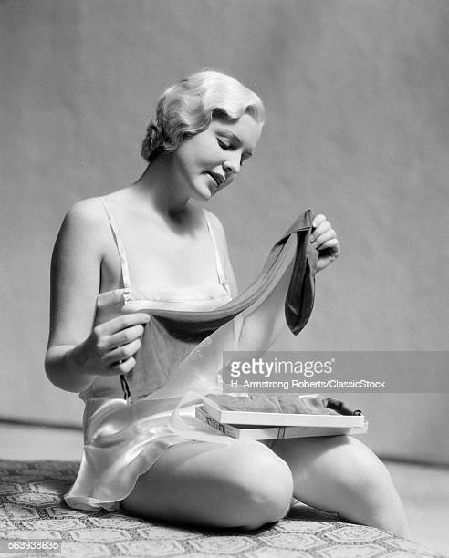1930s BLOND WOMAN IN SILK...