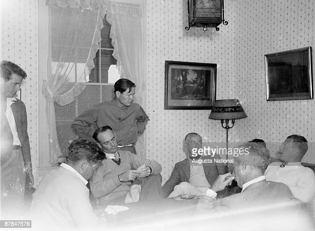 Byron Nelson Craig Wood and Tommy Armour play a card game during the 1930s Masters Tournament at Augusta National Golf Club in April in Augusta...