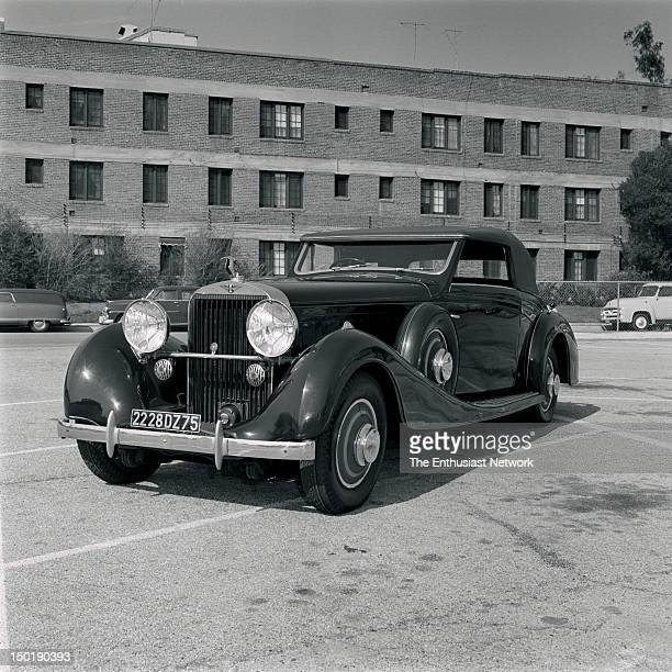 1930s Hispano Suiza V12 Front 3/4 view in parking lot in front of large brick building