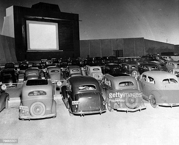 1930s Los Angeles USA A picture of a Drivein Cinema where motorists can see films from their own cars