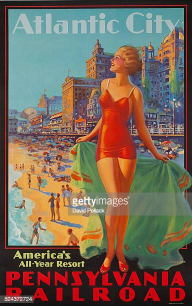 1930s Pennsylvania Railroad American Travel Poster Atlantic City America's All Year Resort Blonde bathing beauty standing in front of beach and...