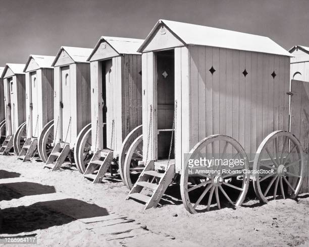 1930s Rolling Bath Houses Enable Bathers To Step From Dressing Room Directly Into Surf Pocitos Beach Montevideo Uruguay