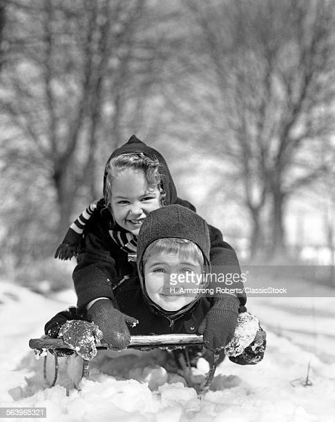 1930s SMILING BOY AND GIRL...