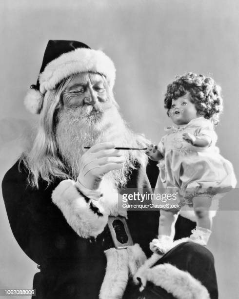 1930s SMILING SANTA CLAUSE PAINTING HAND ON TOY DOLL