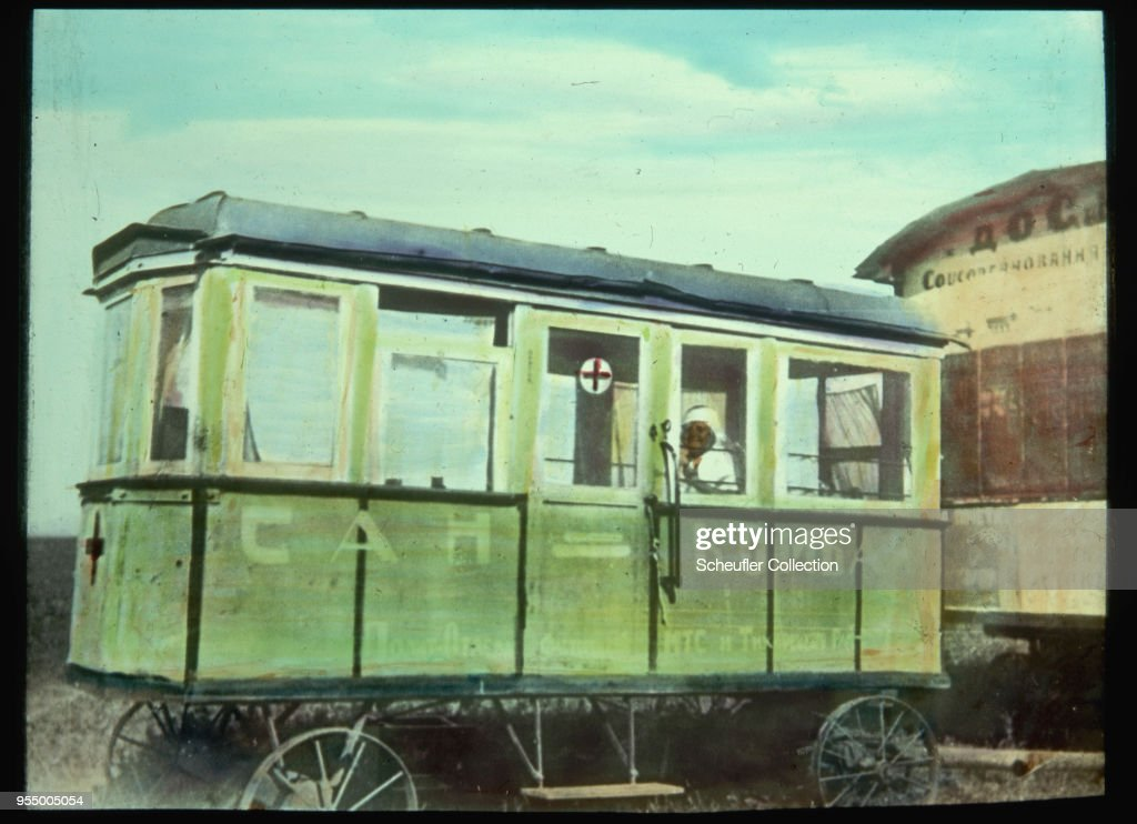 1930s soviet mobile medical clinic, A nurse sits on duty in a mobile