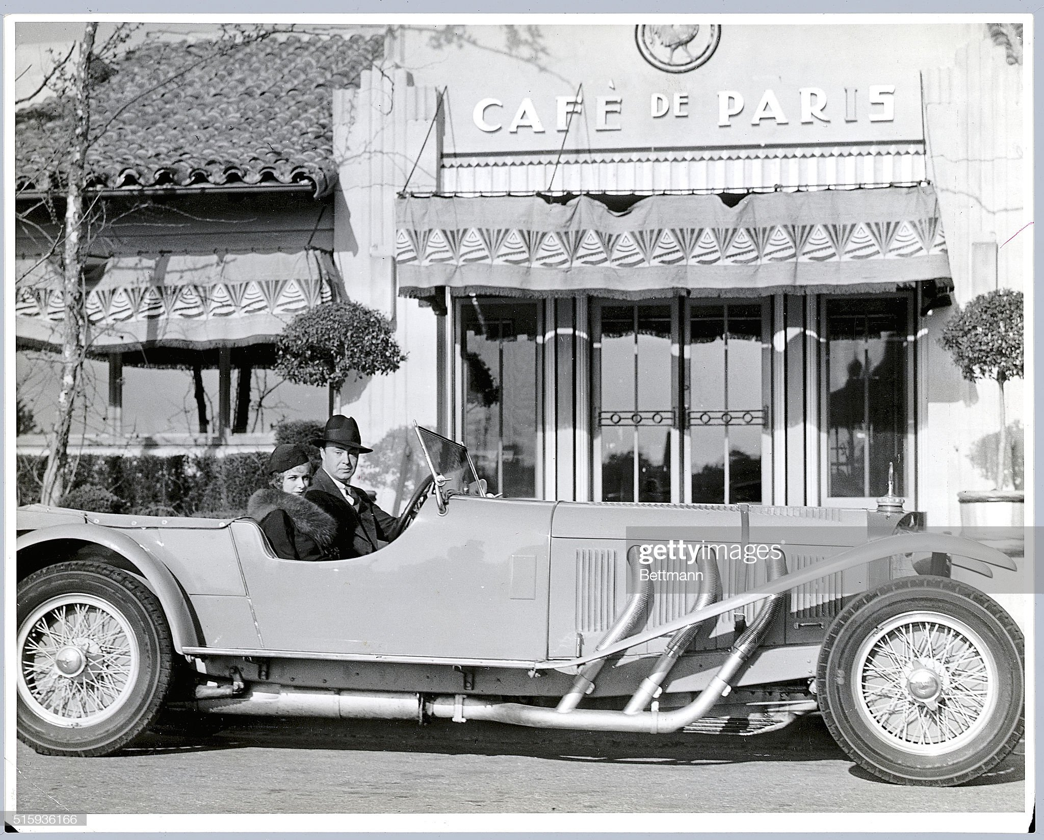 Joan Bennett and Gene Markey in Their Mercedes Convertible : News Photo