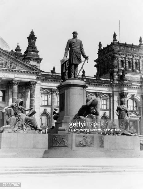 1930s STATUE OF BISMARK AT REICHSTAG BERLIN GERMANY 1935