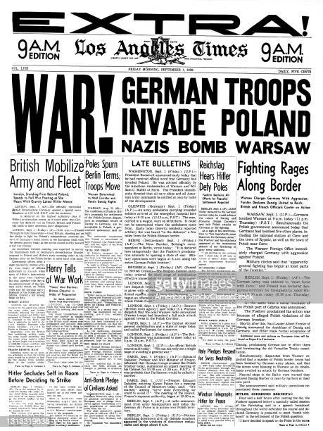 1930s The Los Angeles Times Newspaper September 1 1939 Headlines War German Troops Invade Poland Nazis Bomb Warsaw Ca USA.