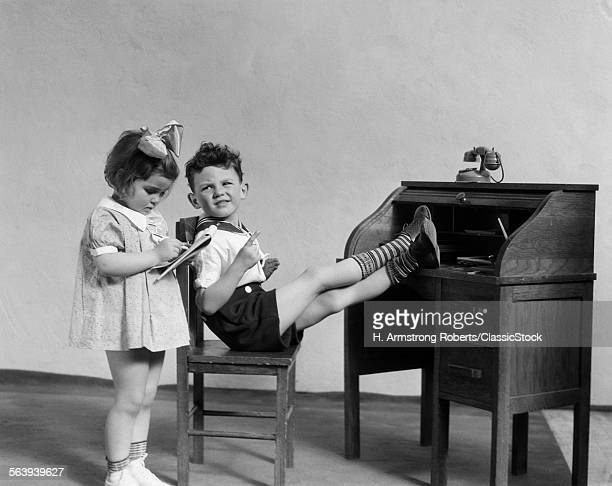 1930s TWO CHILDREN BOY AND...