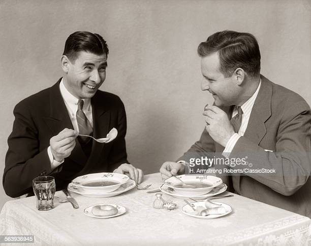 1930s TWO MEN DINING...