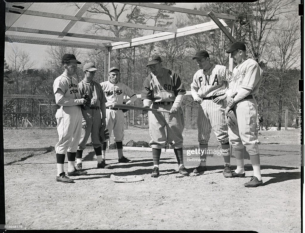 Rogers Hornsby Instructs Boys How To Bunt : News Photo
