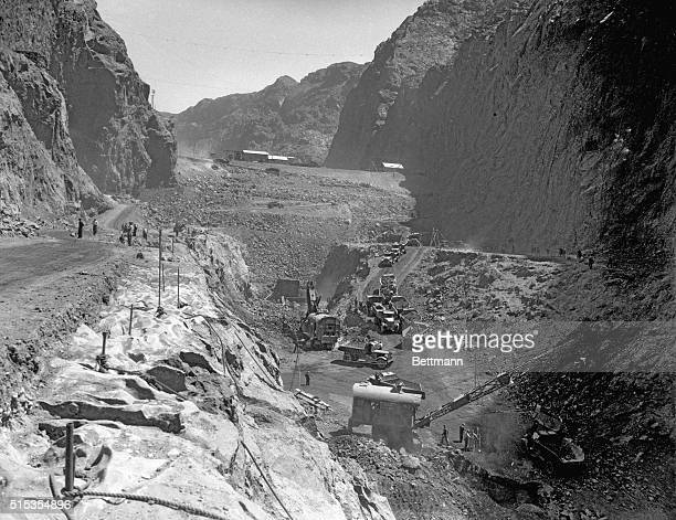 1933Boulder City CO Picture shows an aerial view of mass construction of the Boulder Dam