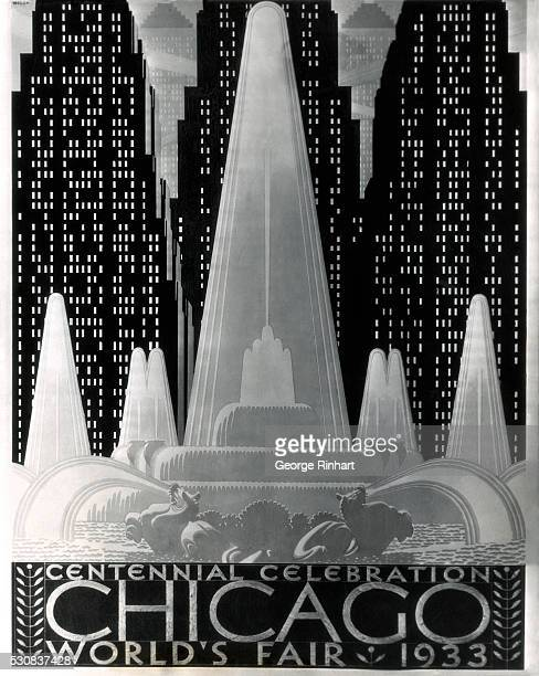 1933Chicago IL Our photo shows the poster that was chosen by a committee in Chicago for the World's Fair celebration in 1933 It was designed by Mr WP...