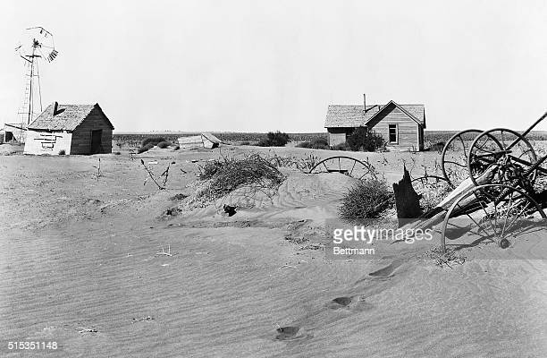 1937Guyman OK Scene Picture shows an abandoned farmstead in the dust bowl