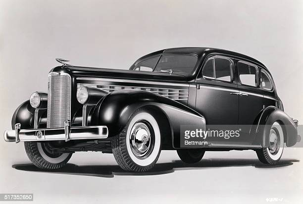 1937Illustration of the 1937 Cadillac La Salle five passenger twodoor touring sedan shown from the side The viewer can admire the car's long square...