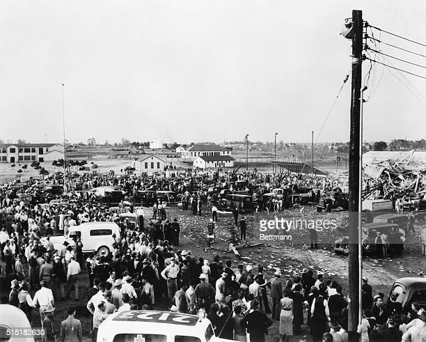 1937New London TX A view of the wreckage of the Consolidated High School showing how the force of the blast that blotted out hundreds of young lives...
