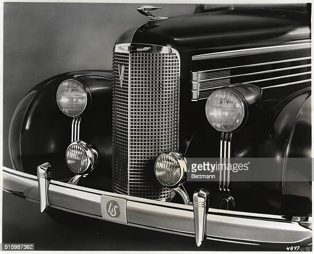 1938Closeup of the very front end of a 1938 Cadillac La Salle This smaller counterpart to the Cadillac features a smaller radiator grille and four...