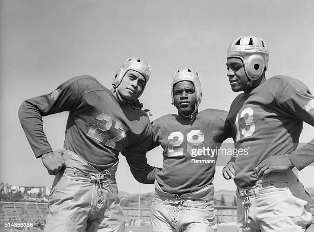 Portrait of UCLA football players Woodrow Strode Jack Robinson and Kenny Washington