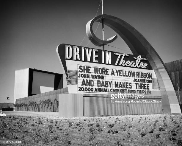 1940s 1940s Drive-In Theater Marquee Showing Double Feature Of 1949 Movies She Wore A Yellow Ribbon And Baby Makes Three