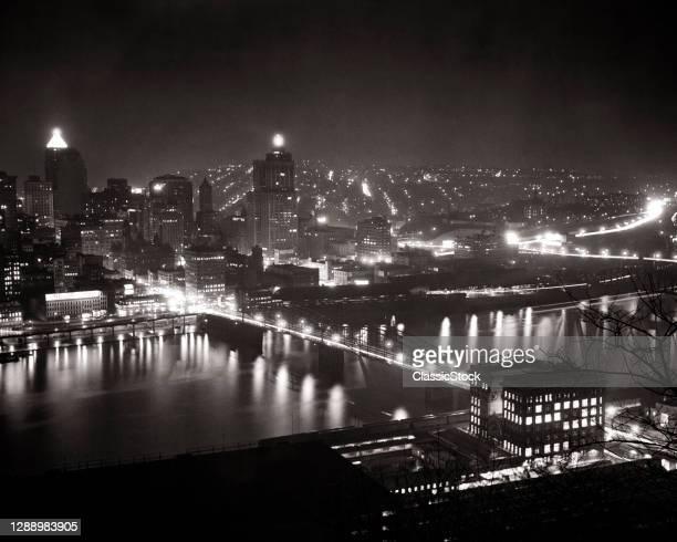 1940s 1950s City Night Scene Smithfield Street Bridge Across Monongahela River From Mount Washington Pittsburgh Pa USA