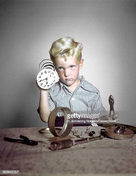 1940s 1950s FUNNY BOY CONFUSED TAKING APART CLOCK TOOLS