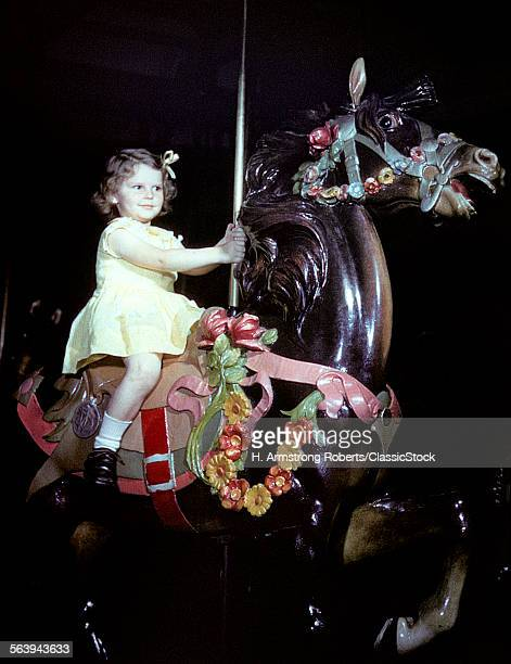 1940s 1950s GIRL RIDING CAROUSEL HORSE MERRY GO ROUND