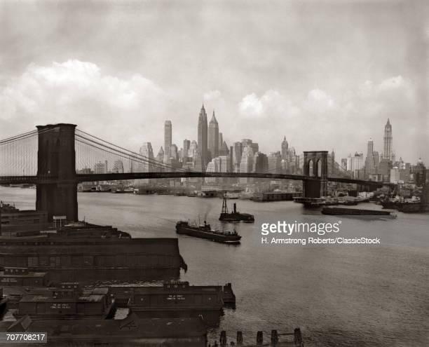 1940s 1950s NYC NEW YORK CITY SKYLINE AND BROOKLYN BRIDGE FROM BROOKLYN