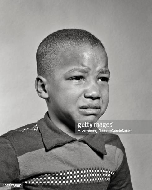 1940s 1950s Portrait Of Sad Young African-American Boy About To Begin Crying