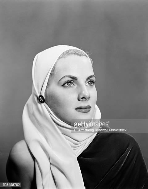 1940s 1950s PORTRAIT BLONDE WOMAN WEARING WHITE HEAD SCARF COWL HOOD