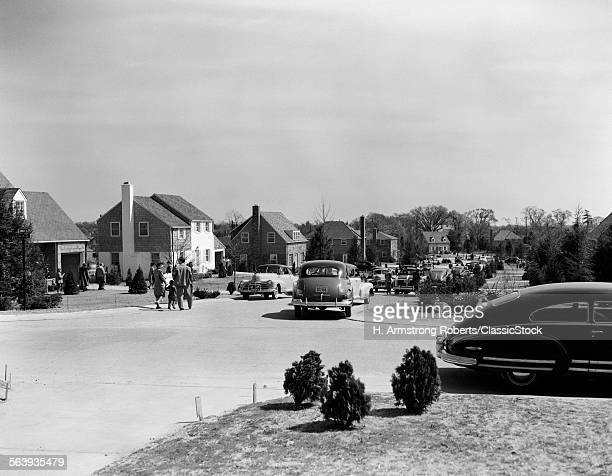 1940s 1950s POSTWAR SUBURBAN STREET HOUSES PARKED CARS PEOPLE COMMUNITY