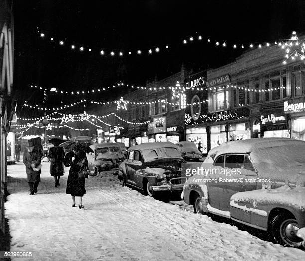 1940s 1950s WINTER CITY...