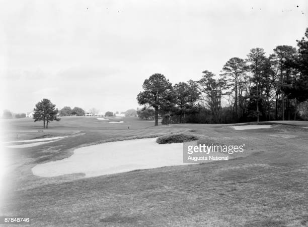 A general view of the seventh green at Augusta National Golf Club in April 1940s in Augusta Georgia