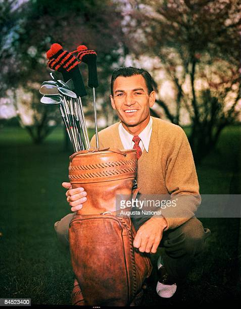 Ben Hogan poses with his golf bag during a 1940s Masters Tournament at Augusta National Golf Club in April of the 1940s in Augusta Georgia