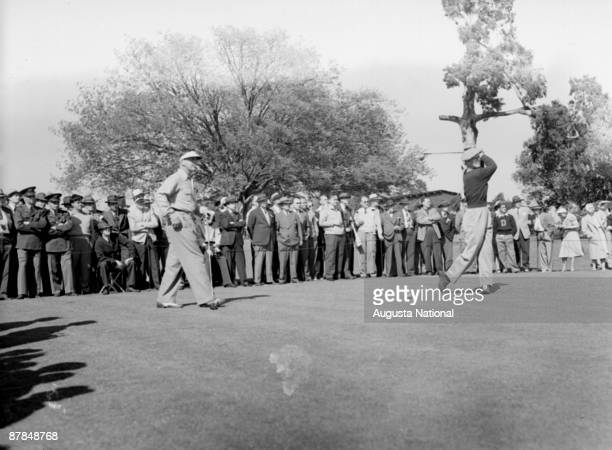 Byron Nelson tees off during a 1940s Masters Tournament at Augusta National Golf Club in April in Augusta Georgia