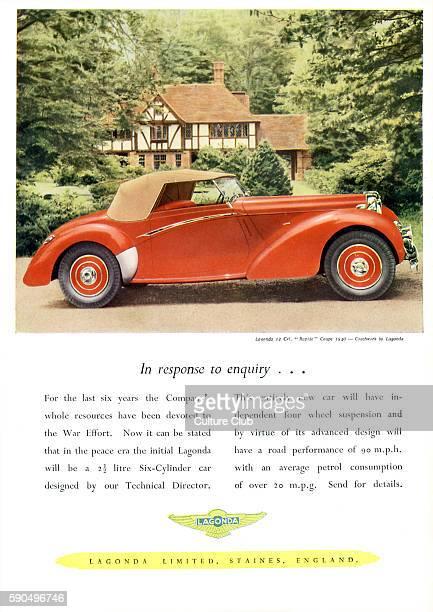 1940s Car Advertisment for Lagonda Limited Soft top Lagonda 12 Cvl 'Rapide' Coupe British motoring