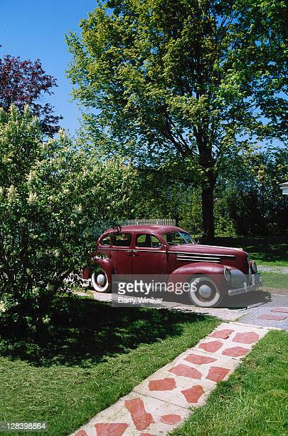 1940s car and period sidewalk, Shelburne Museum
