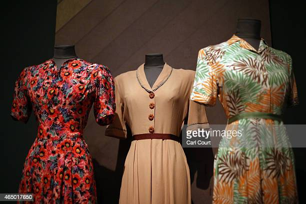 1940s era clothes are pictured on display during a press preview for the forthcoming Fashion on the Ration 1940s Street Style exhibition at the...