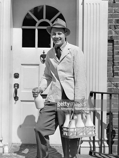 1940s MILKMAN SMILING...