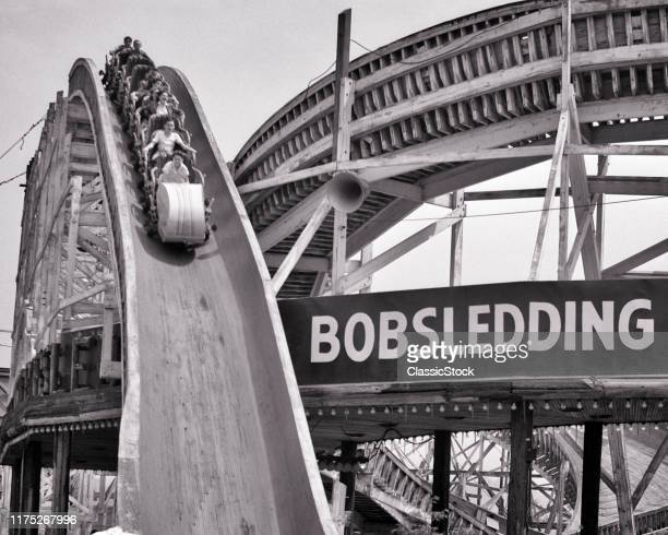 1940s PALISADES AMUSEMENT PARK 18981971 SUMMER BOBSLED RIDE FORT LEE BERGEN COUNTY NEW JERSEY