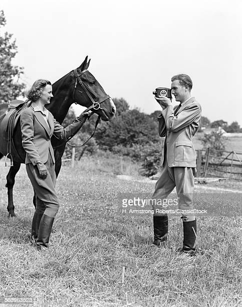 1940s SMILING EQUESTRIAN...