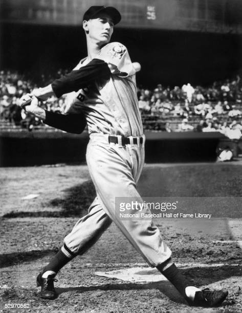 Ted Williams of the Boston Red Sox swings the bat in a circa 1940s photo Williams played his entire career with the Red Sox from 193960