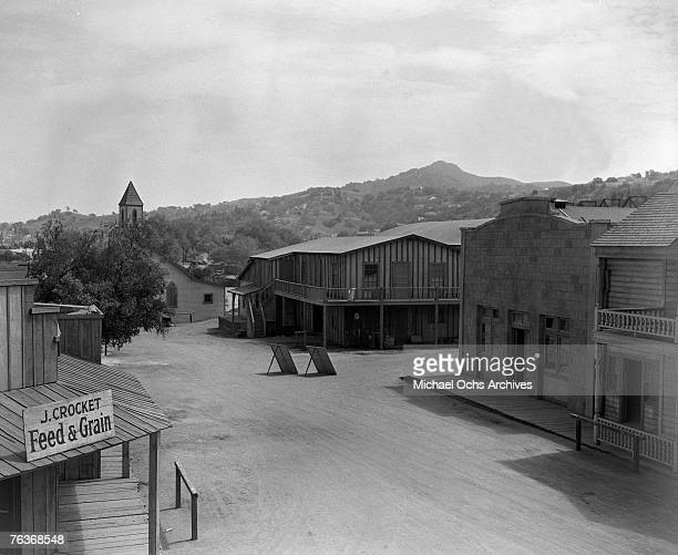 The outdoor western set for a Gene Autry picture for Republic Pictures sits nestled in the hills around Hollywood the early1940s in Hollywood...