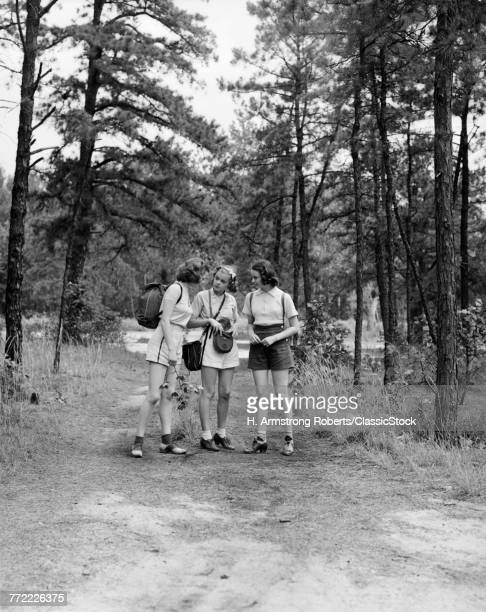 1940s THREE YOUNG WOMEN...