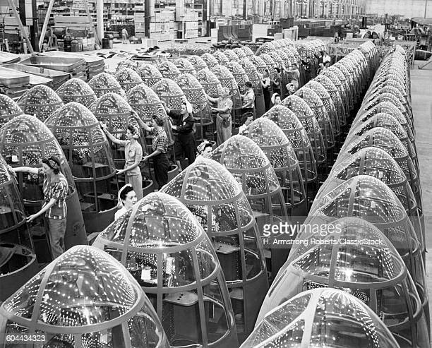 1940s WOMEN WARTIME WWII FACTORY WORKERS POLISHING AIRPLANE NOSE CONES