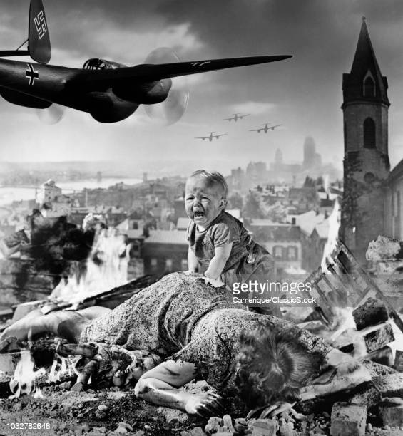 1940s WORLD WAR II BLITZKRIEG MONTAGE NAZI BOMBER PLANES FLYING OVER CITY RUBBLE CRYING BABY INJURED DEAD MOTHER