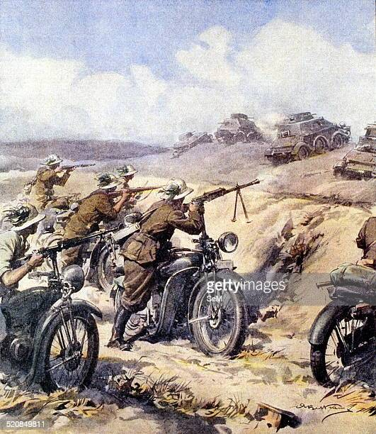 North African CampaignItalian invasion of Egypt 'A clash between British sharpshooters and armored elements in Cyrenaica' from La Domenica del...
