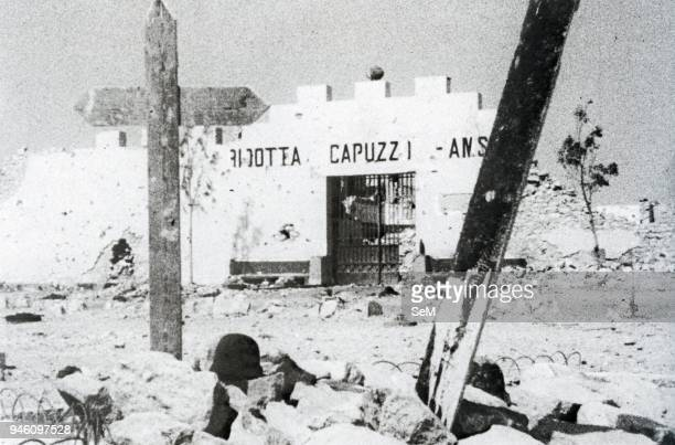 North African CampaignThe Reduced Capuzzo a border fort built along a track attached to the barbed wire pictured after the bitter fighting between...