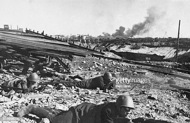 1942Stalingrad Russia Members of a worker's battalion are shown as they defend their plant from the Nazi onslaughts on the outskirts of the once...